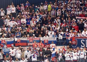 OSTRAVA, CZECH REPUBLIC - MAY 2: Fans cheer on Team Slovakia as they take on Team Denmark during preliminary round action at the 2015 IIHF Ice Hockey World Championship. (Photo by Richard Wolowicz/HHOF-IIHF Images)
