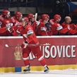 OSTRAVA, CZECH REPUBLIC - MAY 2: Belarus' Andrei Stas #23 high fives the bench after scoring Team Belarus' first goal of the game against Team Slovenia during preliminary round action at the 2015 IIHF Ice Hockey World Championship. (Photo by Richard Wolowicz/HHOF-IIHF Images)