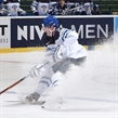 OSTRAVA, CZECH REPUBLIC - MAY 3: Finland's Petri Kontiola #27 stickhandles the puck over the blue line during preliminary round action at the 2015 IIHF Ice Hockey World Championship. (Photo by Richard Wolowicz/HHOF-IIHF Images)