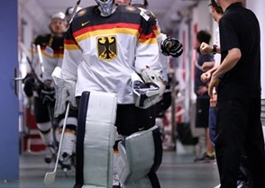 PRAGUE, CZECH REPUBLIC - MAY 5: Germany's Timo Pielmeier #51 leads his team to the playing surface for preliminary round action against Switzerland at the 2015 IIHF Ice Hockey World Championship. (Photo by Andre Ringuette/HHOF-IIHF Images)