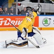 PRAGUE, CZECH REPUBLIC - MAY 7: Sweden's Jhonas Enroth #1 reaches out in attempt to make a glove save during preliminary round action against Germany at the 2015 IIHF Ice Hockey World Championship. (Photo by Andre Ringuette/HHOF-IIHF Images)