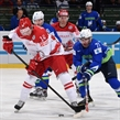 OSTRAVA, CZECH REPUBLIC - MAY 11: Denmark's Kirill Starkov #14 battles for the puck with Slovenia's Bostjan Golicic #71 during preliminary round action at the 2015 IIHF Ice Hockey World Championship. (Photo by Richard Wolowicz/HHOF-IIHF Images)