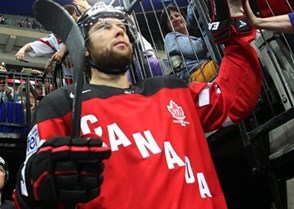 PRAGUE, CZECH REPUBLIC - MAY 12: Canada's Jake Muzzin #6 is greeted by fans as he gets set to take on Austria during preliminary round action at the 2015 IIHF Ice Hockey World Championship. (Photo by Andre Ringuette/HHOF-IIHF Images)