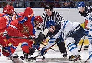 OSTRAVA, CZECH REPUBLIC - MAY 12: Russia's Vadim Shipachyov #87 faces off against Finland's Petri Kontiola #27 during preliminary round action at the 2015 IIHF Ice Hockey World Championship. (Photo by Richard Wolowicz/HHOF-IIHF Images)