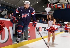 OSTRAVA, CZECH REPUBLIC - MAY 14: USA's Justin Faulk #27 takes to the ice before taking on Team Switzerland during quarterfinal round action at the 2015 IIHF Ice Hockey World Championship. (Photo by Richard Wolowicz/HHOF-IIHF Images)
