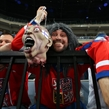 PRAGUE, CZECH REPUBLIC - MAY 14: Czech Republic fan gets ready for quarterfinal round action against Finland at the 2015 IIHF Ice Hockey World Championship. (Photo by Andre Ringuette/HHOF-IIHF Images)