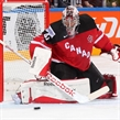 PRAGUE, CZECH REPUBLIC - MAY 16: Canada's Mike Smith #41 makes the save during semifinal round aciton against the Czech Republic at the 2015 IIHF Ice Hockey World Championship. (Photo by Andre Ringuette/HHOF-IIHF Images)