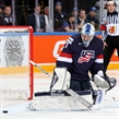 PRAGUE, CZECH REPUBLIC - MAY 17: USA's Connor Hellebuyck #37 makes the save during bronze medal game action against the Czech Republic at the 2015 IIHF Ice Hockey World Championship. (Photo by Andre Ringuette/HHOF-IIHF Images)